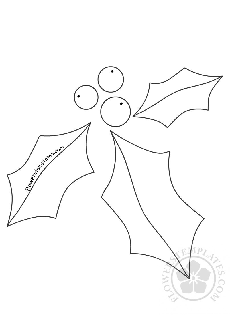 807x1103 Holly Leaves Berries Craft Christmas Shape Flowers Templates