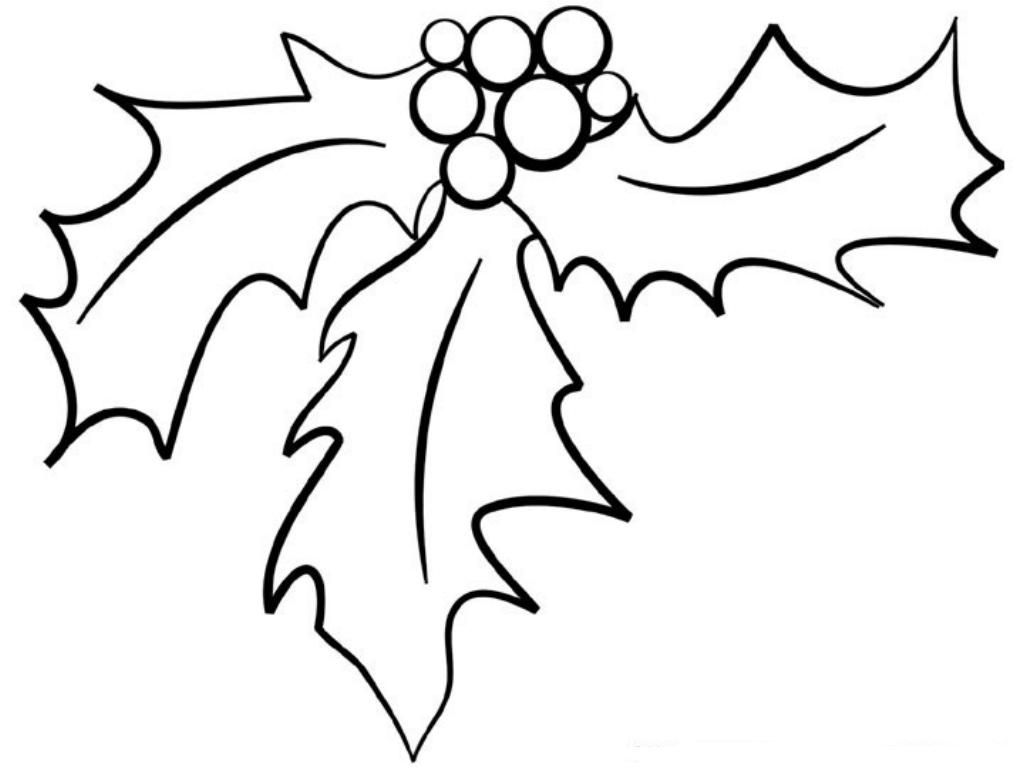 Christmas Leaf Coloring Pages Christmas Holly Coloring Pages ...