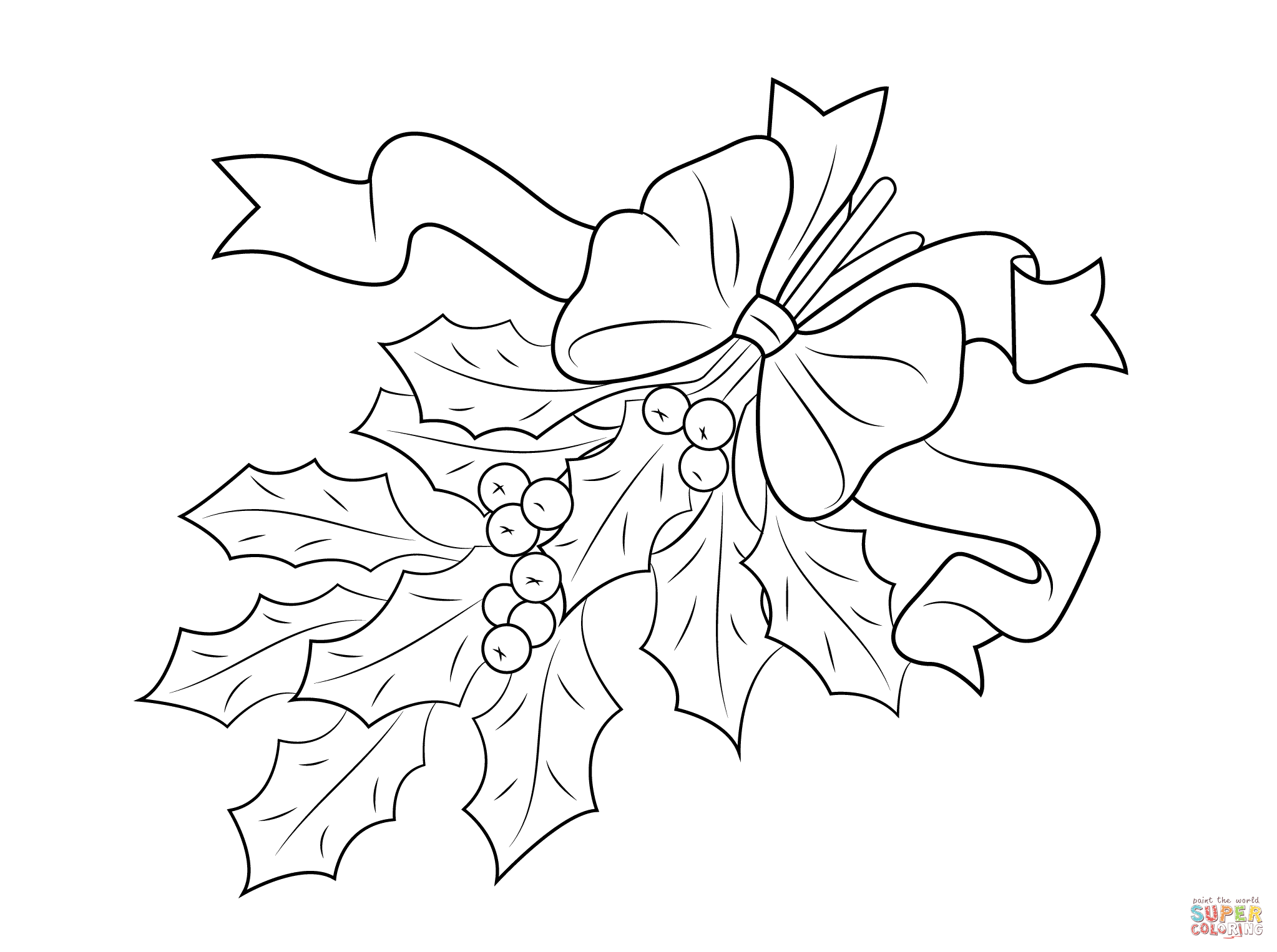2046x1526 Christmas Holly With Bow Coloring Page Free Printable Pages