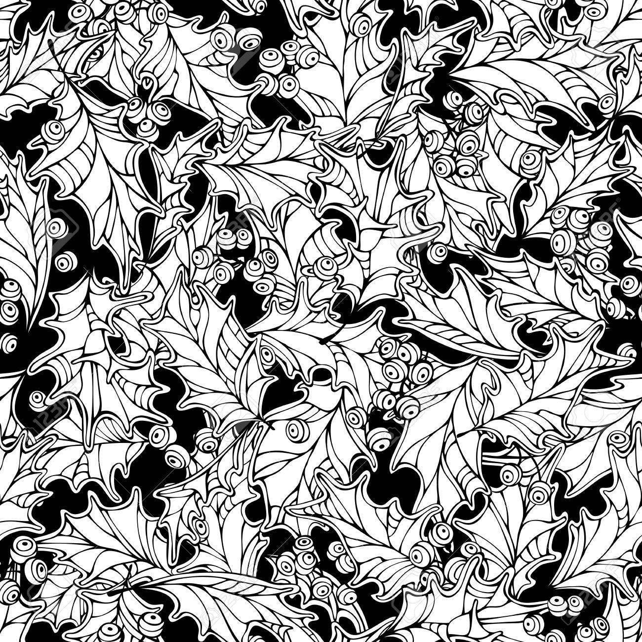 1300x1300 Christmas Mistletoe Seamless Pattern. Black And White Holly