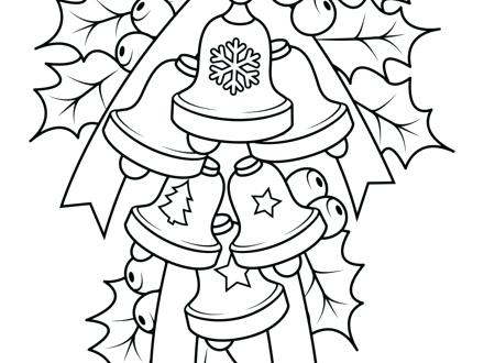 440x330 Holly Coloring Pages Bells And Holly Coloring Page Free Printable