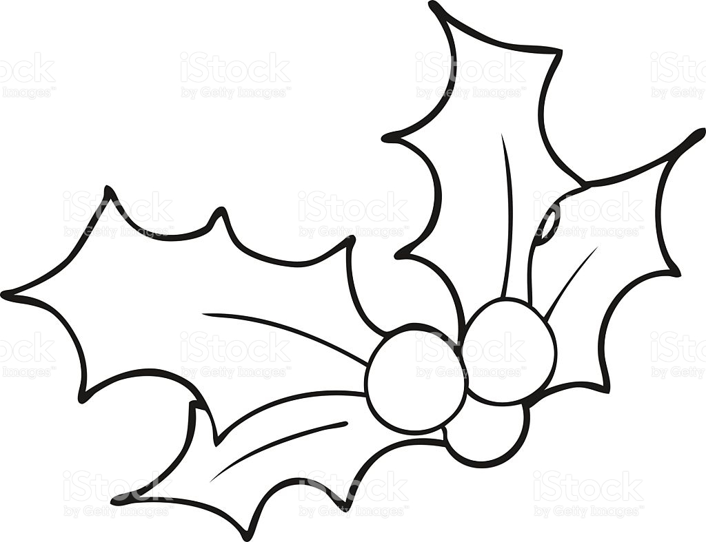 1024x787 Holly Leaf Clipart Black And White