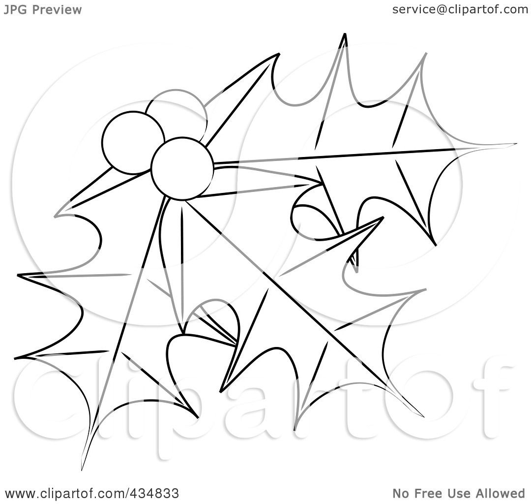 1080x1024 Royalty Free (Rf) Clipart Illustration Of Outlined Holly Leaves