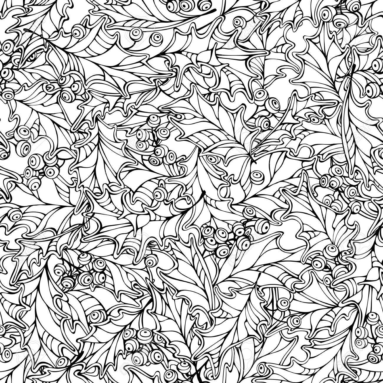 1300x1300 Christmas Holly Berries Seamless Pattern. Black And White