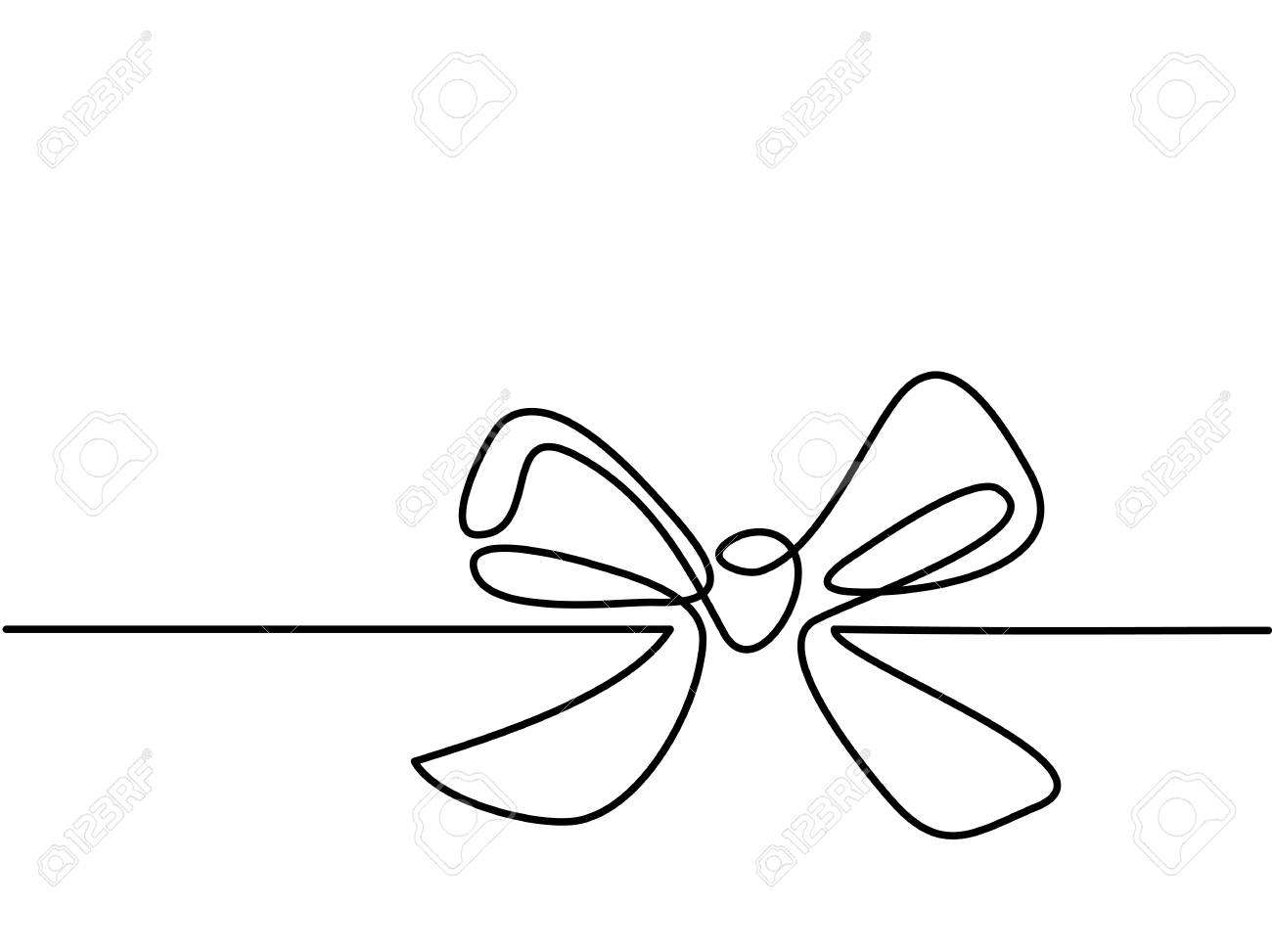 1300x973 Christmas Holly Decoration Bow Knot. Continuous Line Drawing