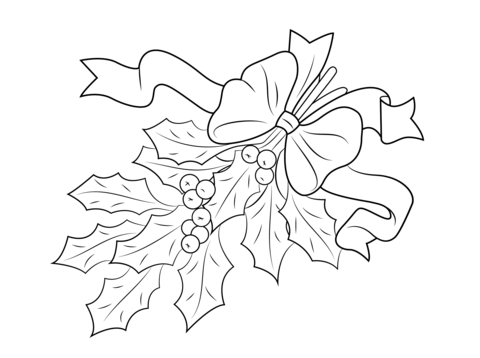 480x358 Christmas Holly With Bow Coloring Page Free Printable Coloring Pages