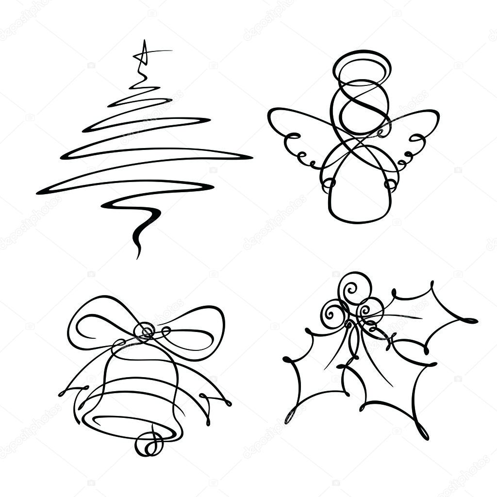 1024x1024 Four Christmas Single Line Icons Stock Vector Nazlisart
