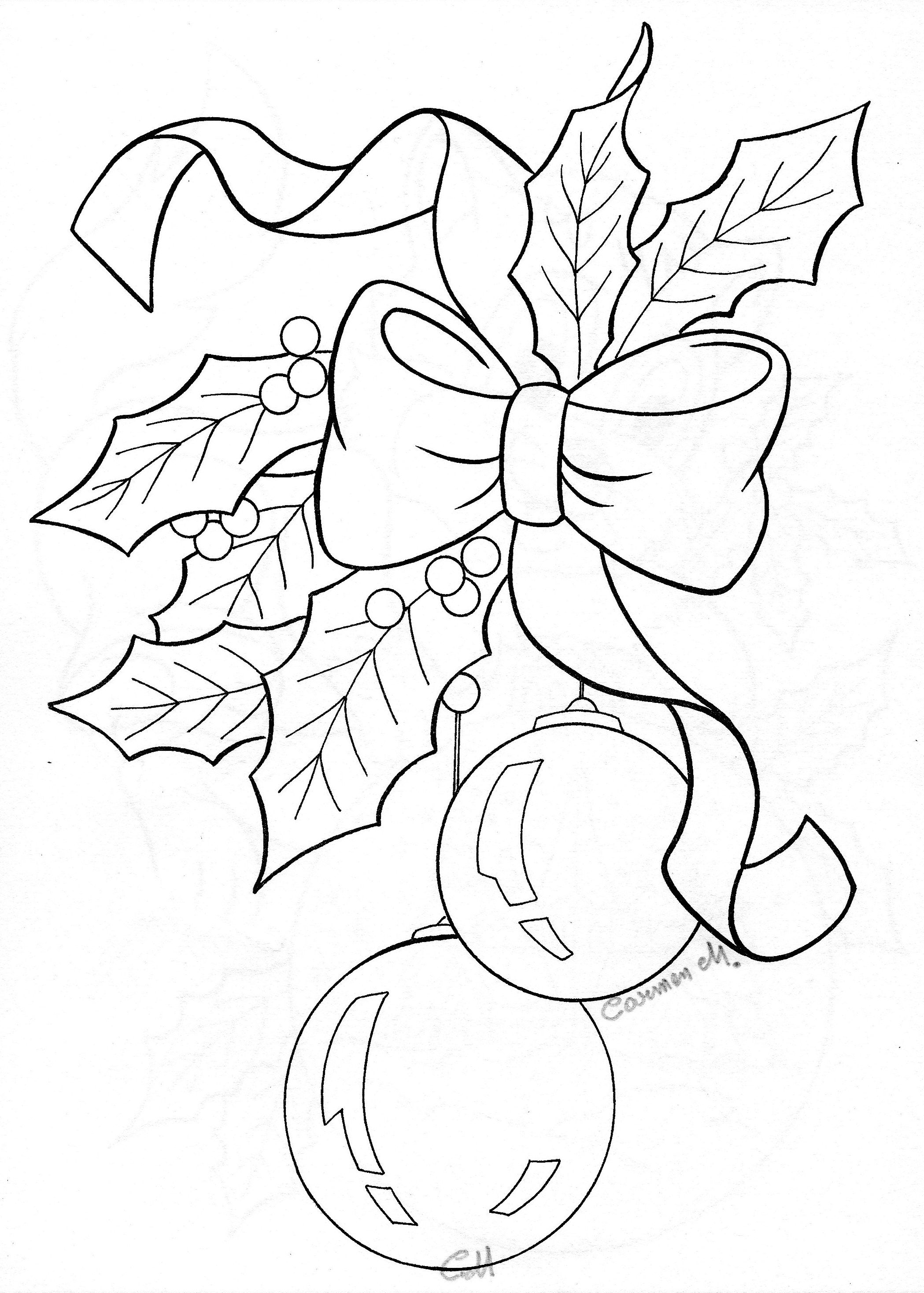 2098x2936 Bow Holly Ornaments Sketch Coloring Collections