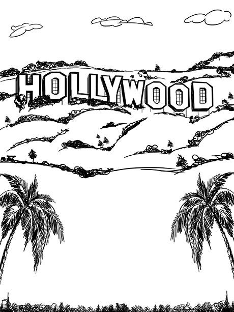 460x613 Hollywood Line Art Printed Photo Backdrop 7412 Artsy, Drawings