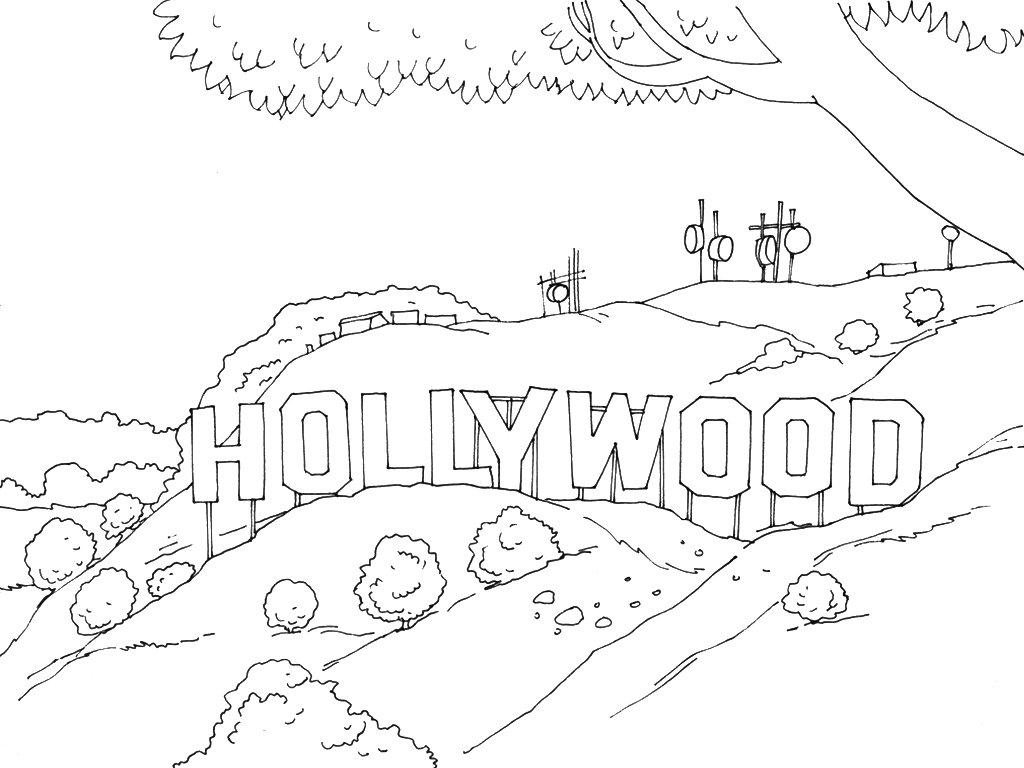 1024x768 Get The Coloring Page Hollywood Sign Free Pages For
