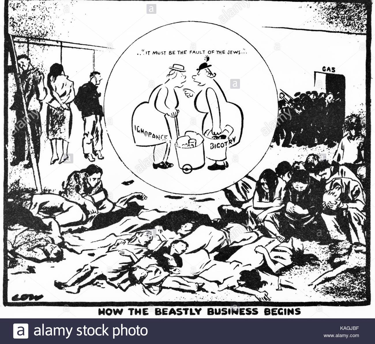1300x1194 Low Cartoon. Holocaust. Jews. Jewish. Ghetto Stock Photo