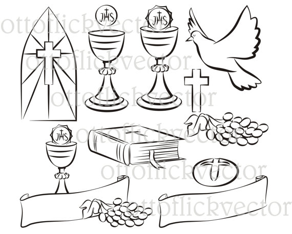 570x458 Holy Communion Vector Silhouettes, Clipart Eps, Ai, Cdr, Png, Jpg