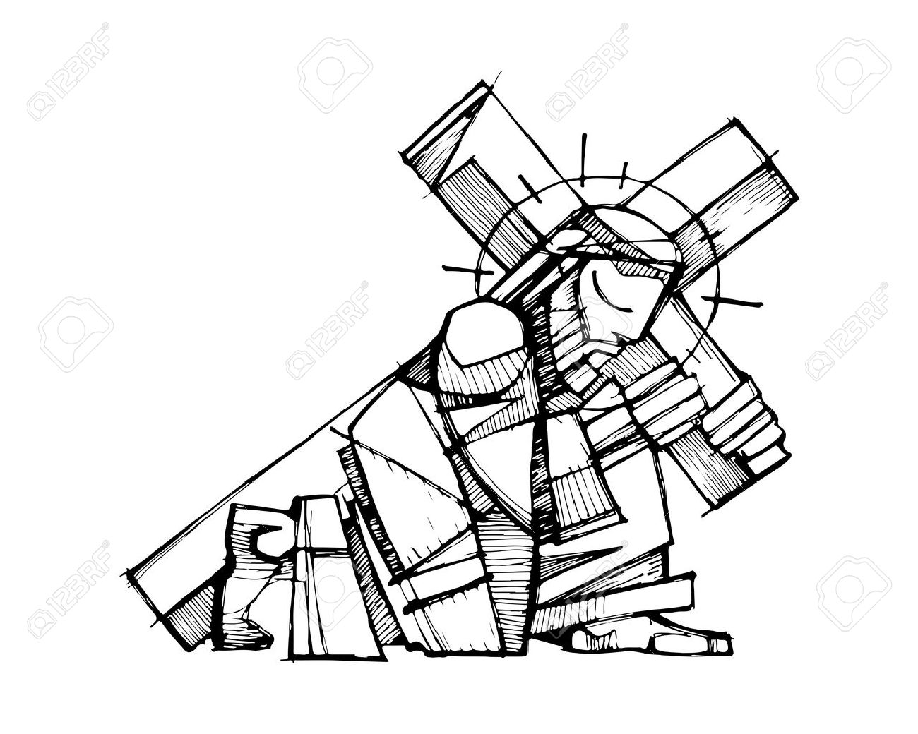 1300x1040 Hand Drawn Vector Illustration Or Drawing Of Jesus Christ Carrying