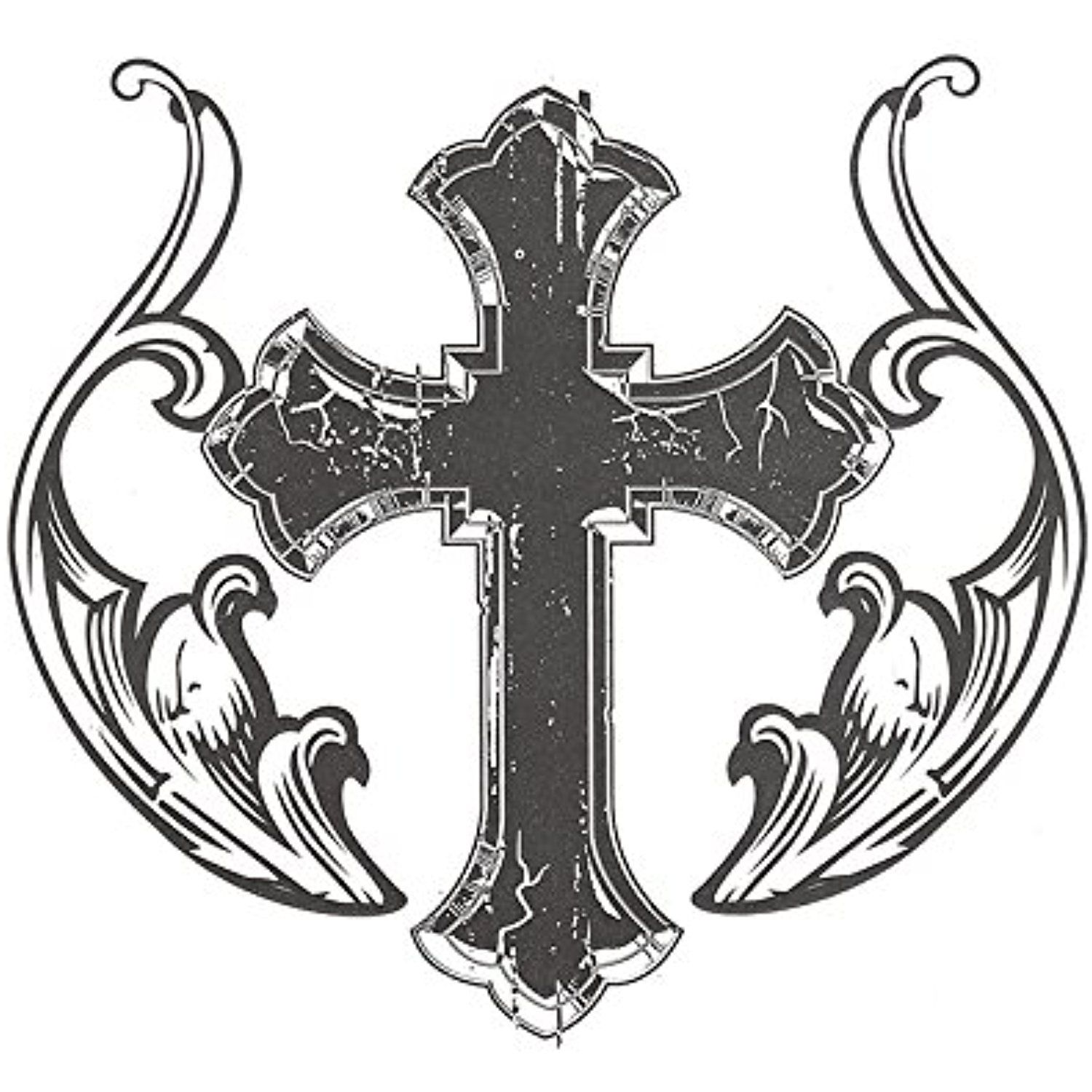 1500x1500 Set Of 2 Waterproof Temporary Tattoo Stickers 3d Black Holy Cross