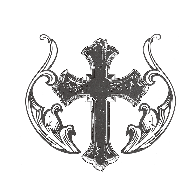 800x800 Waterproof Temporary Tattoo Stickers 3d Black Holy Cross Totem