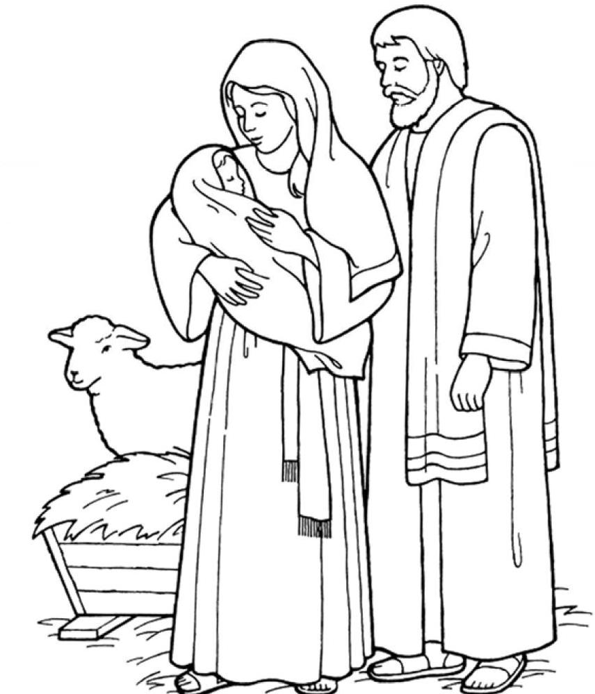 856x999 Holy Family Catholic Coloring Page