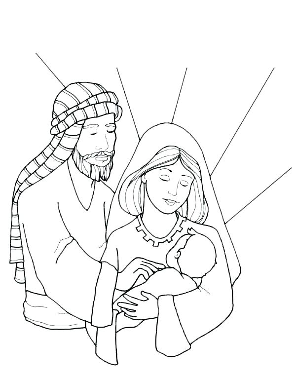600x764 Holy Family Coloring Page Nativity Scene With Holy Family