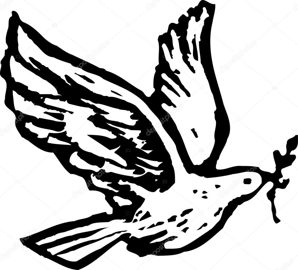 1024x928 Black And White Vector Illustration Of Holy Spirit Dove With Olive