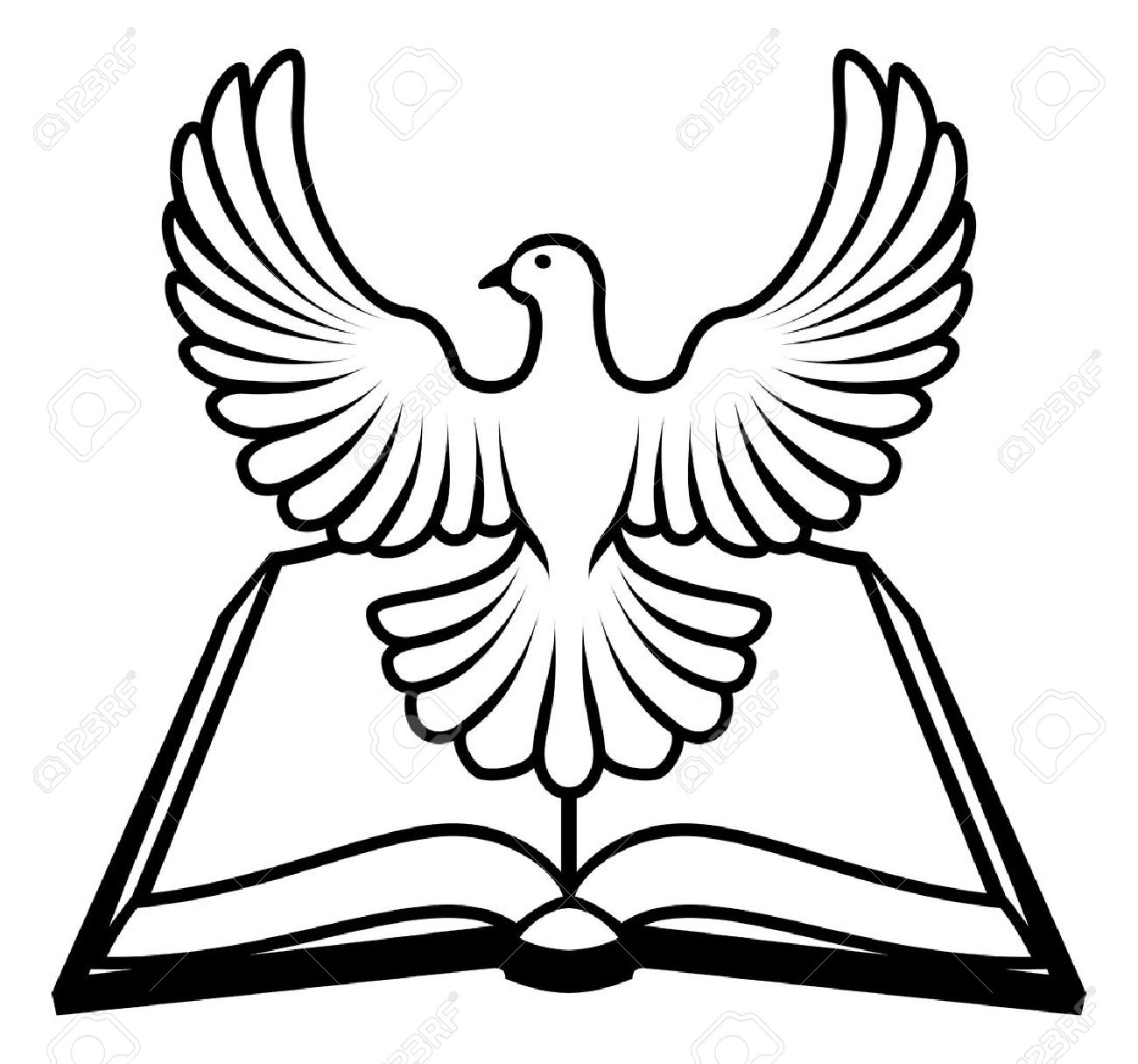 1300x1215 Christian Bible With The Holy Spirit In The Form Of A White Dove