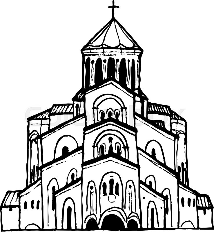 738x800 Holy Trinity Cathedral In Tbilisi, Georgia. Hand Drawn Sketch