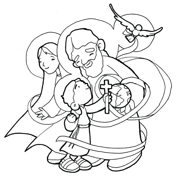 736x727 Holy Trinity Coloring Pages Holy Family Trinity Coloring Page