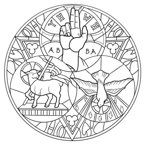 480x480 Holy Trinity Coloring Page From Stained Glass Category. Select