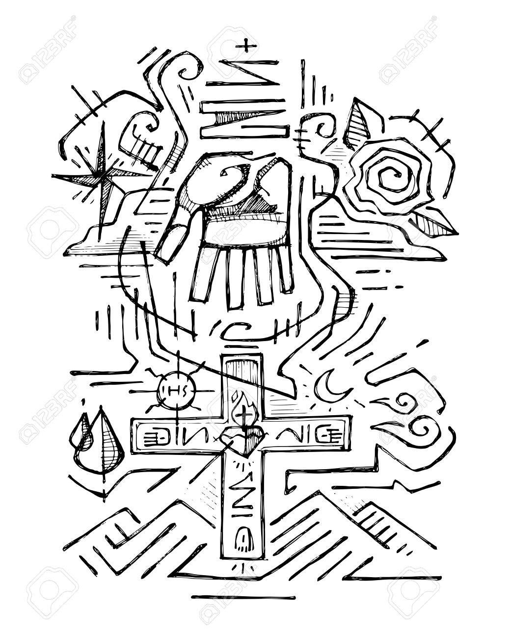 1039x1300 Hand Drawn Vector Illustration Or Drawing Of The Holy Trinity
