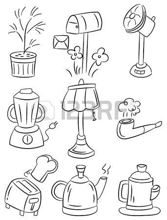 342x450 Hand Draw Home Appliances Cartoon Icon Royalty Free Cliparts