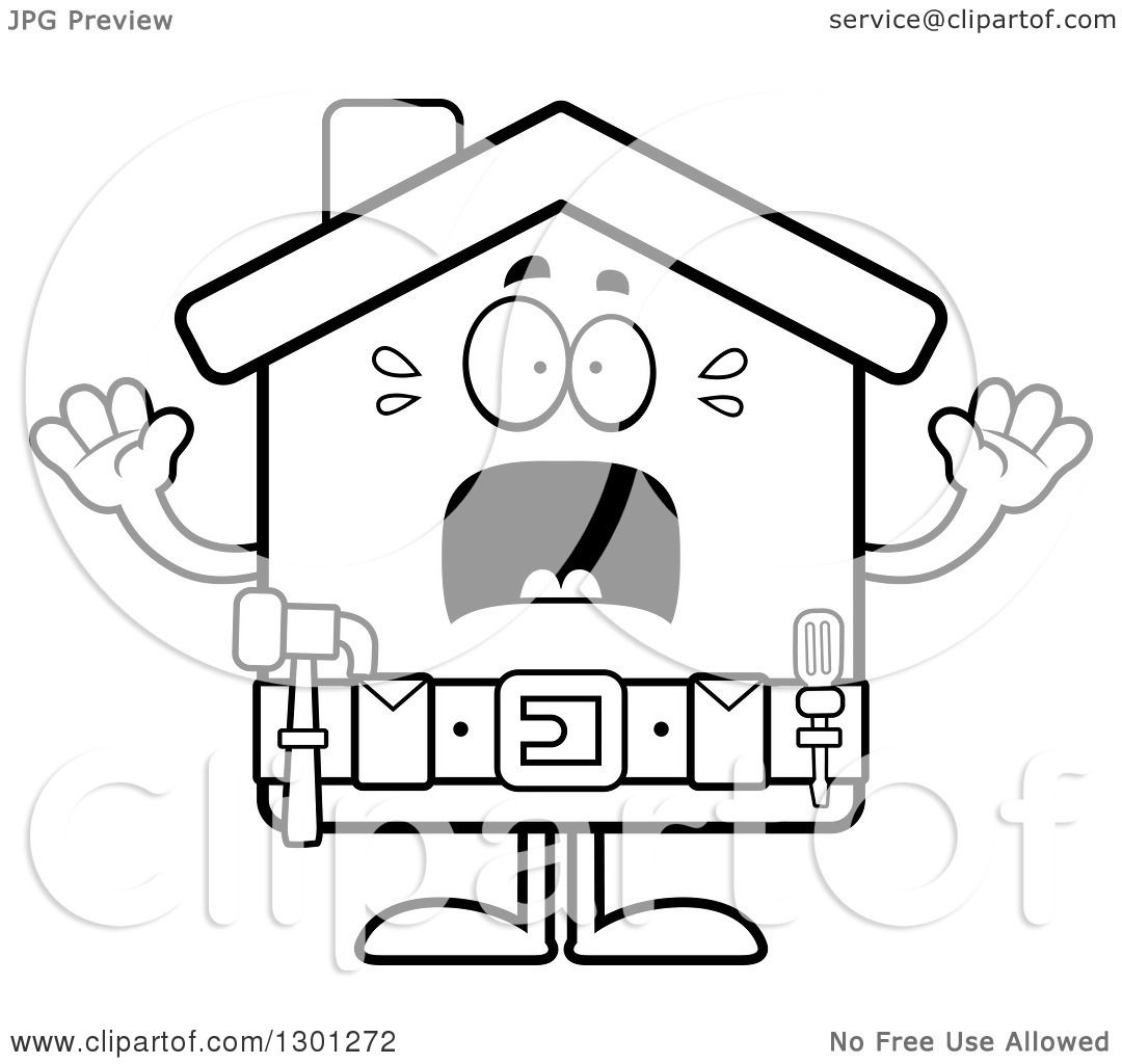 1080x1024 Outline Clipart Of A Cartoon Black And White Scared Screaming Home