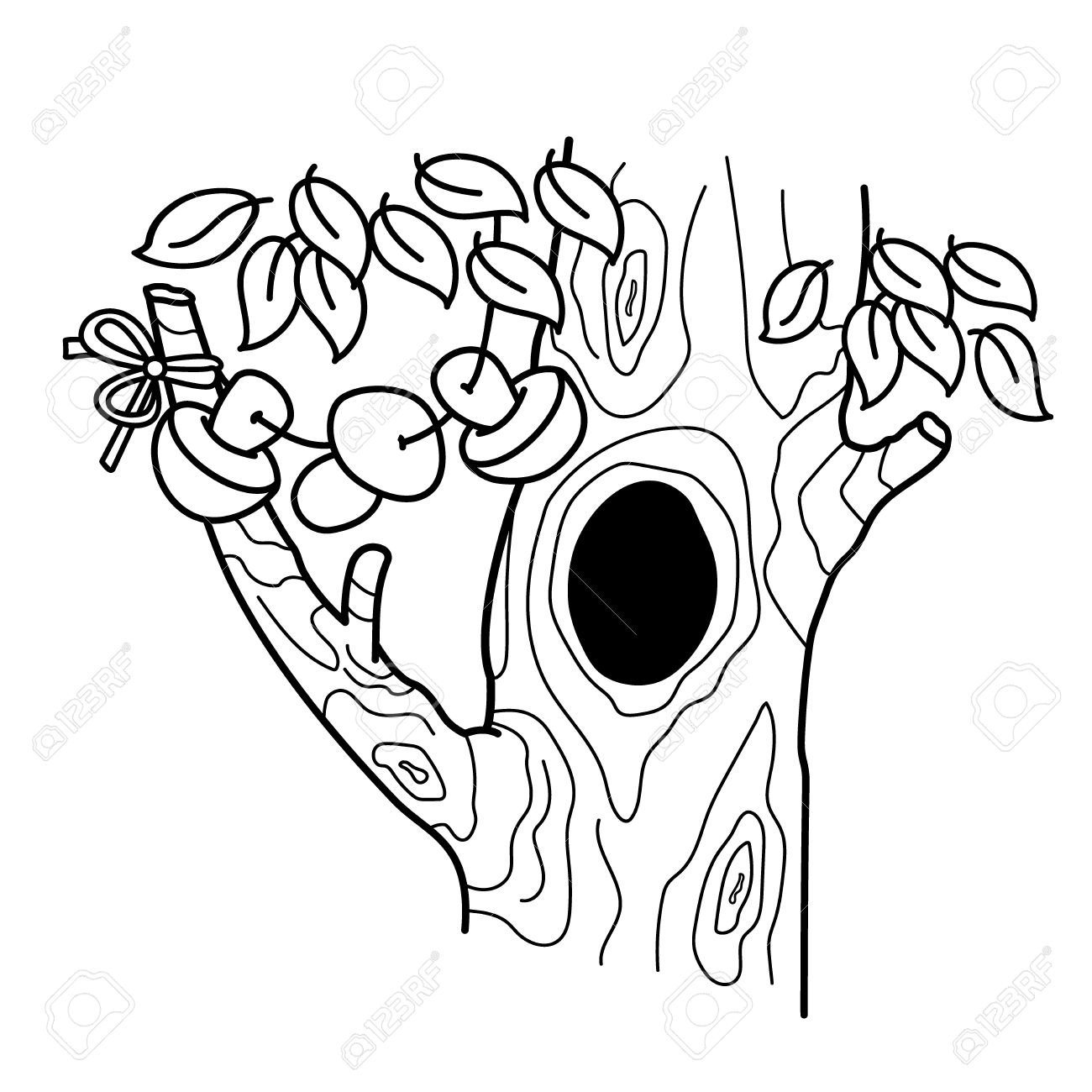1300x1300 Coloring Page Outline Of Cartoon Tree With A Hollow. Home