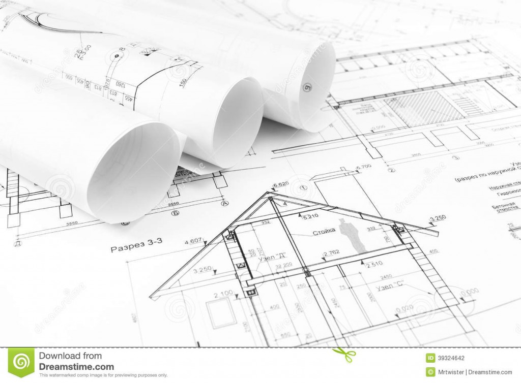 1024x754 House Plan Construction Drawings Stock Photo. Image Of House, Line