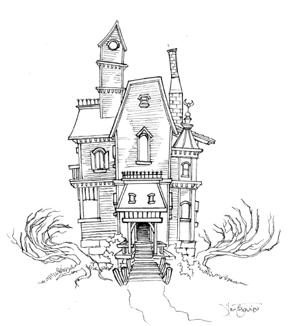 428x475 Haunted House Sketch 01 By ~magikmarker16 On Haunted