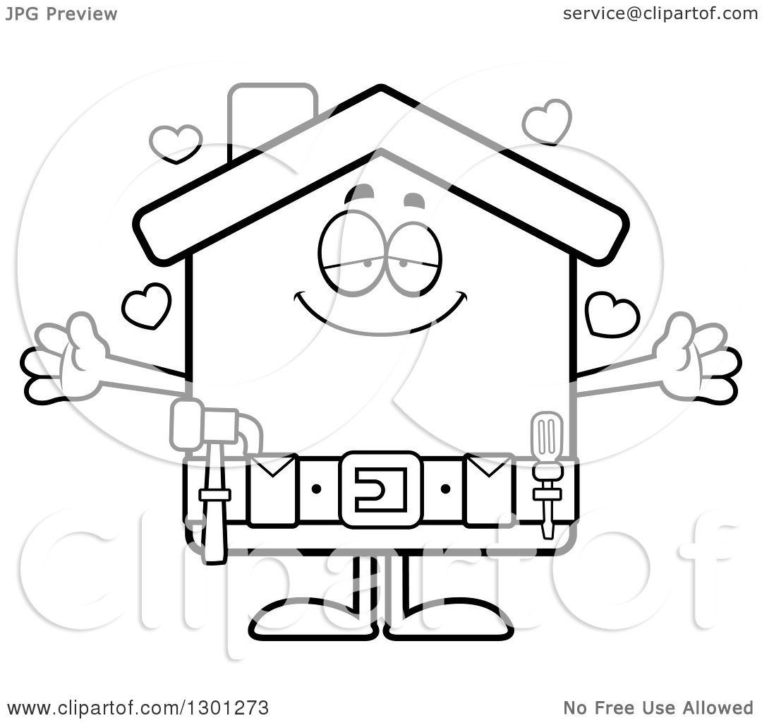 1080x1024 Outline Clipart Of A Cartoon Black And White Loving Home