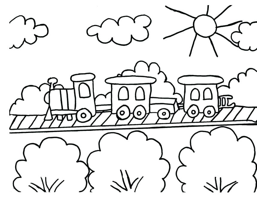 859x673 Simple Coloring Pages For Kids Train Drawings Images Pictures Home