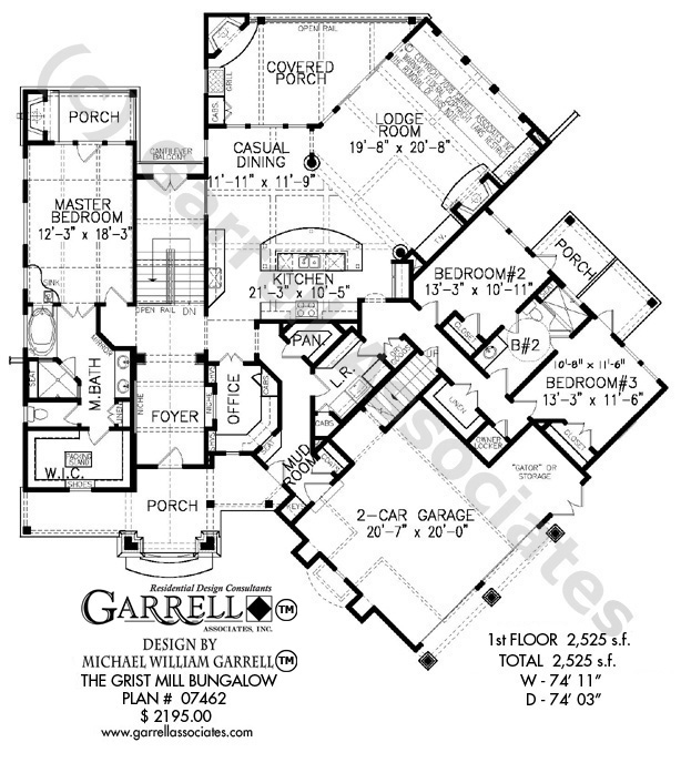 614x697 Grist Mill Bungalow House Plan House Plans By Garrell Associates