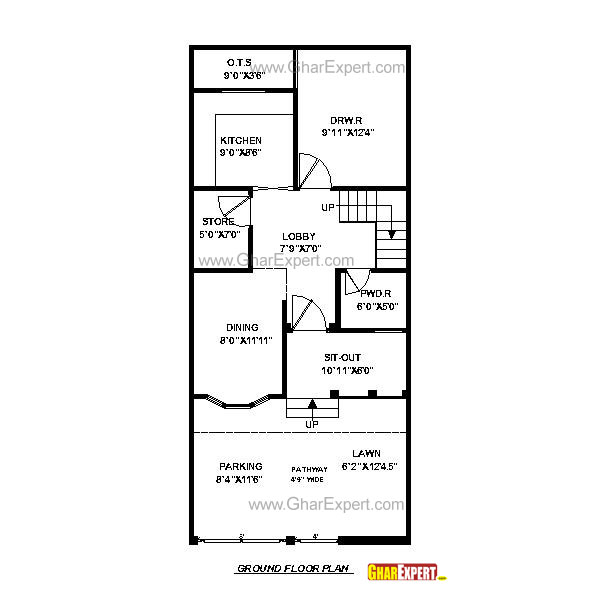 600x600 House Plan For 20 Feet By 45 Feet Plot (Plot Size 100 Square Yards