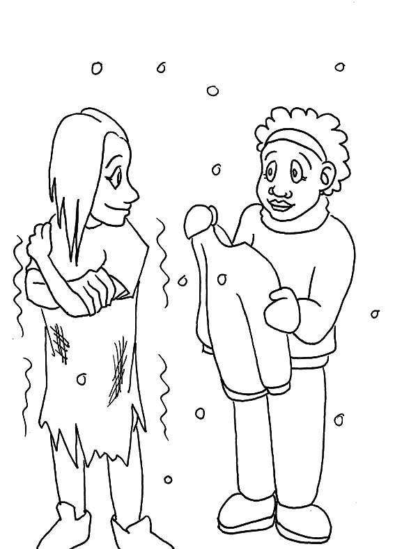 600x789 Helping Others Give Warm Clothes To Homeless People Coloring Pages