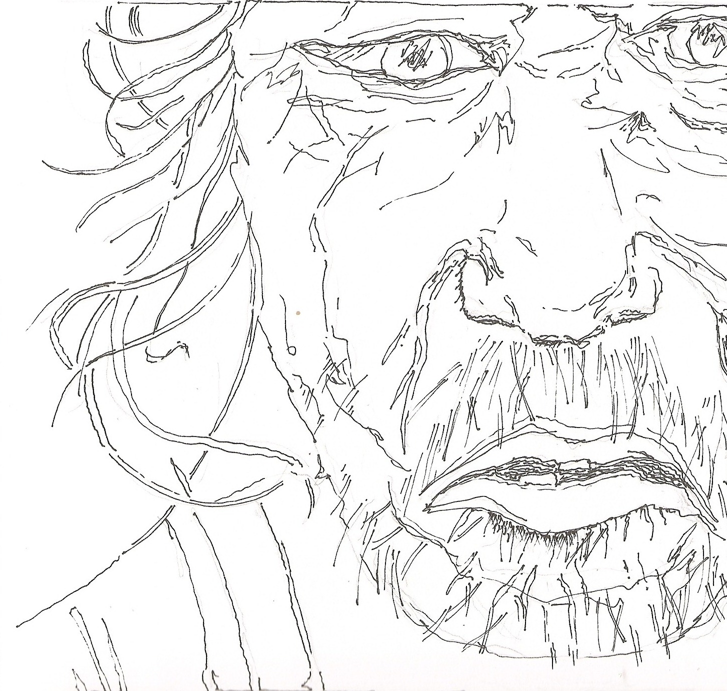 1454x1382 Line Drawing Of Homeless Man Jots From A Small Apt.