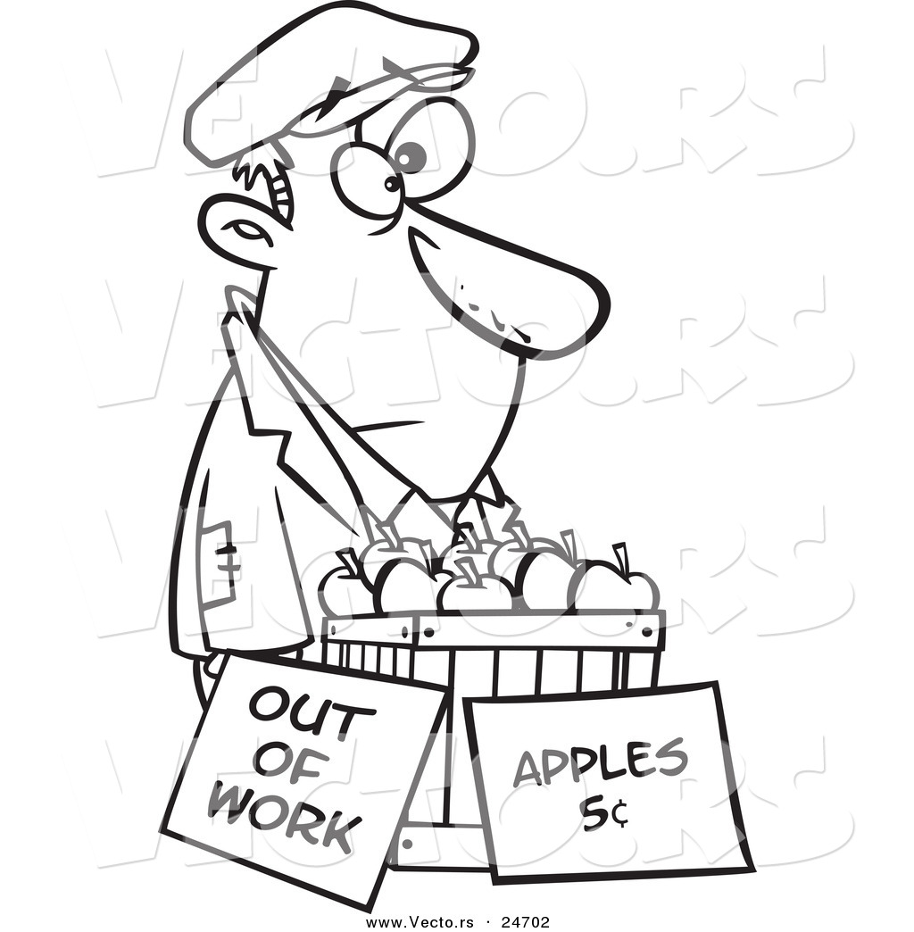 1024x1044 Vector Of A Cartoon Homeless Man Trying To Sell Apples