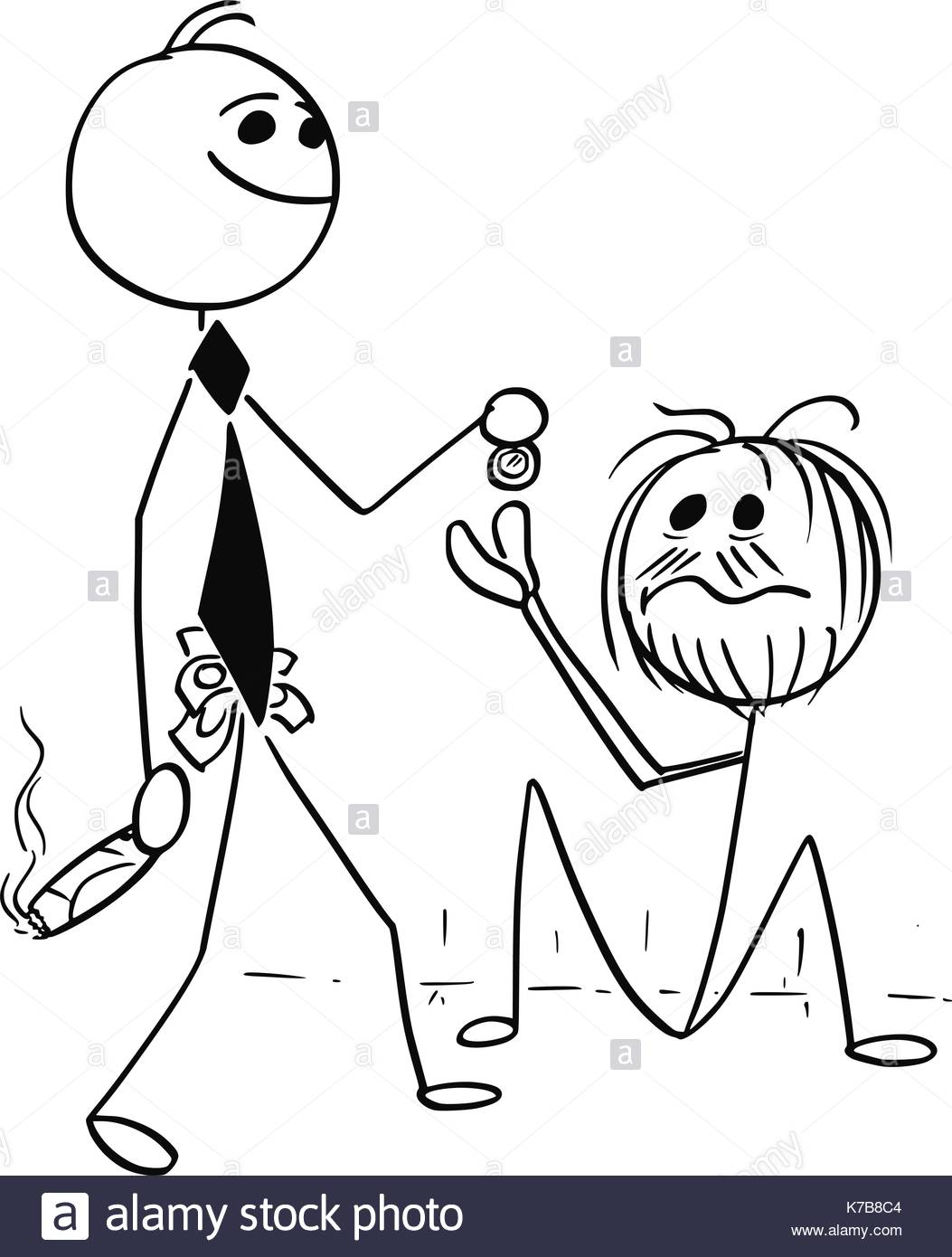 1053x1390 Cartoon Stick Man Illustration Of Smiling Rich Business Man Stock