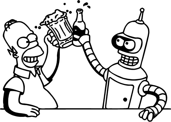 600x427 Bender And Homer Simpson Drinking Beer Decal Sticker 05