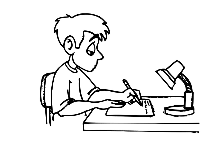 750x531 Coloring Page Writing Homework