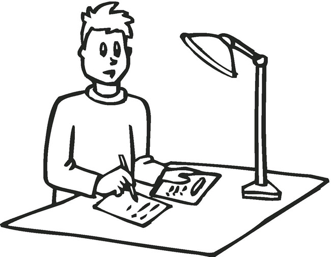 650x504 Doing Homework Coloring Page. Seamo