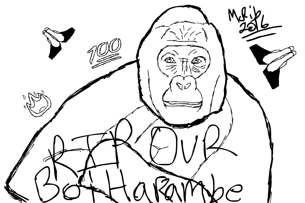 1280x853 A 10 Minute Speed Drawing As A Tribute To Our Fallen Homie Harambe