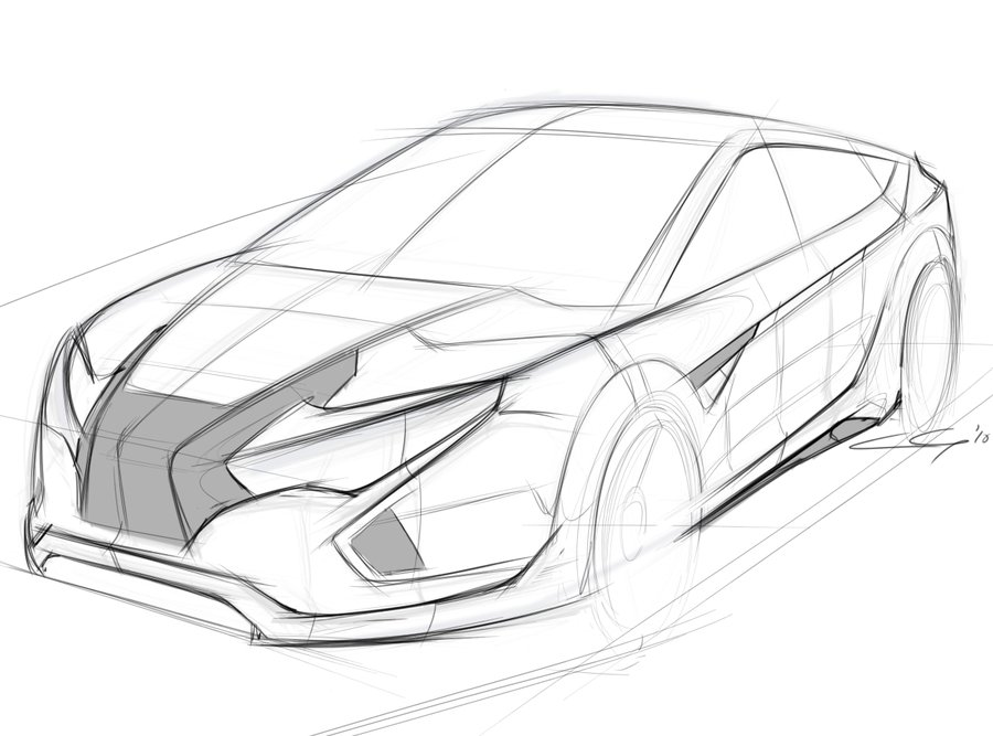 900x667 Honda Crx Front Sketch By Cabg
