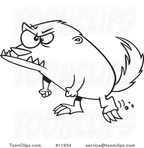 581x600 Cartoon Outlined Angry Honey Badger