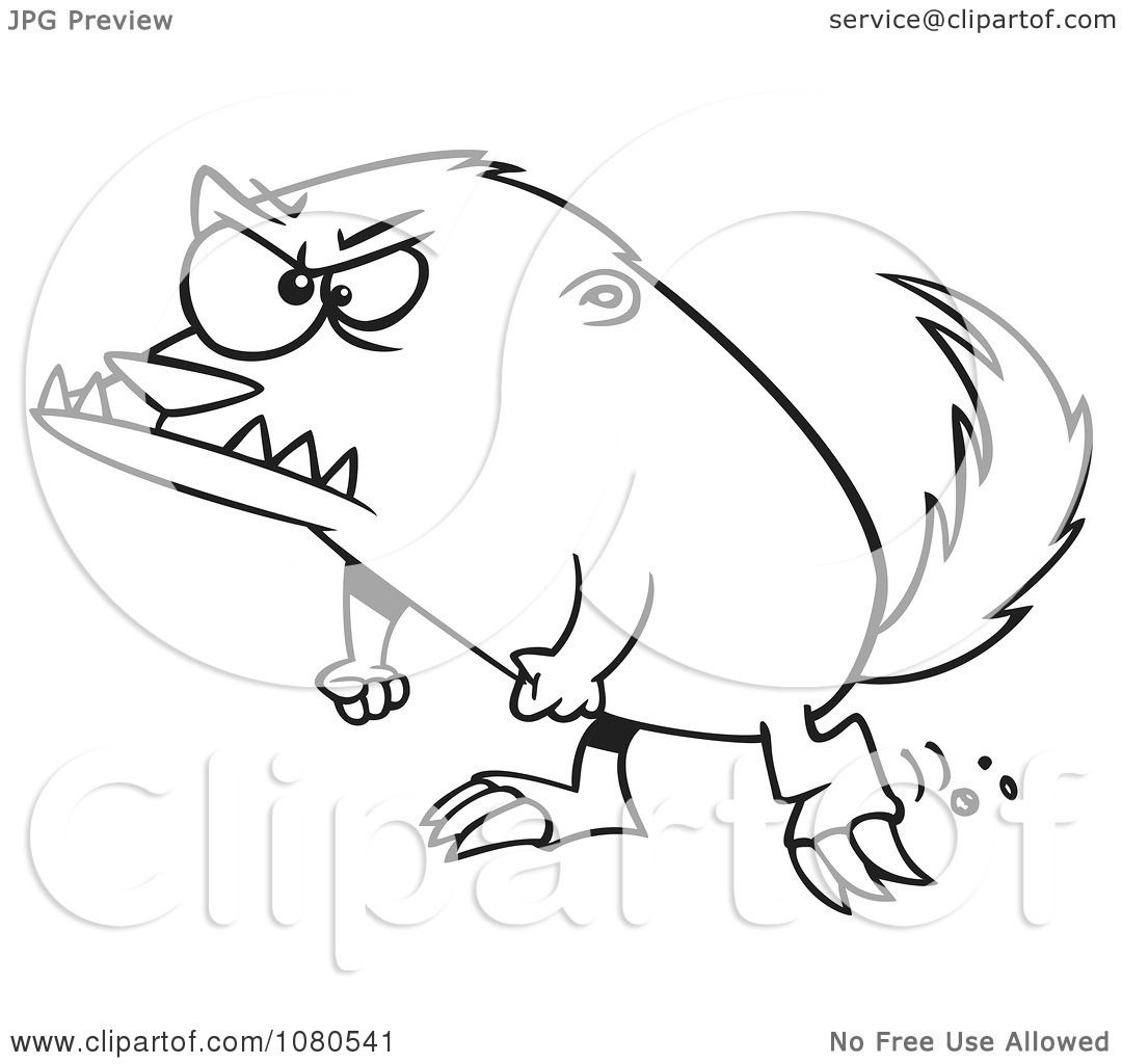 1080x1024 Clipart Outlined Angry Honey Badger