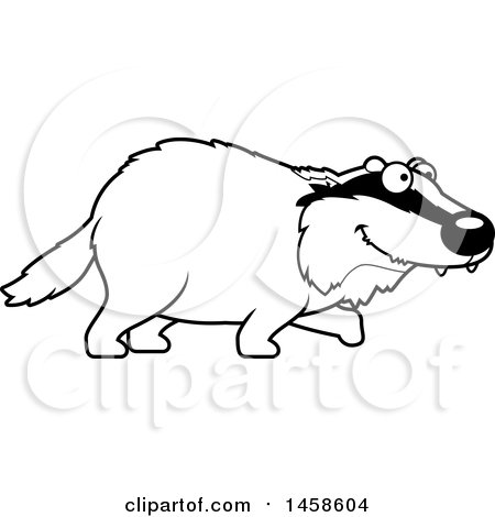 450x470 Clipart Of A Black And White Happy Badger Walking
