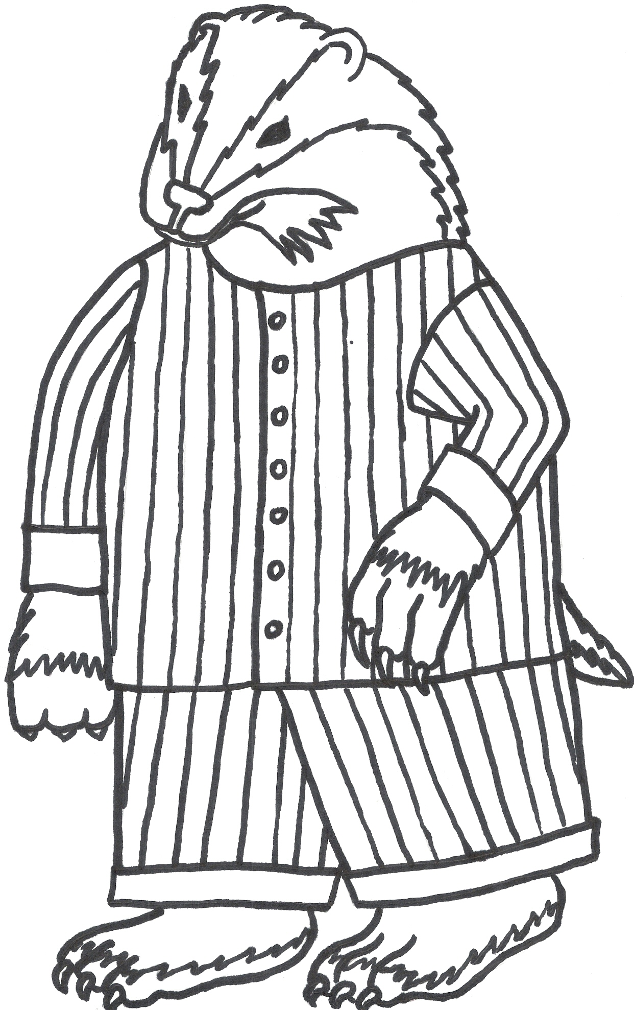 1242x1977 Vector Of A Cartoon Angry Honey Badger Outlined Coloring Page By