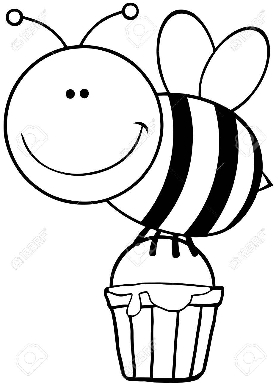 928x1300 Outlined Bee Flying With A Honey Bucket Royalty Free Cliparts